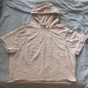 Light pink short sleeved hoodie